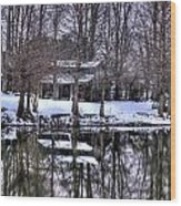 Snow Barn Wood Print