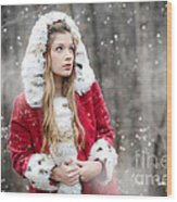 Snow Beauty In Red Wood Print