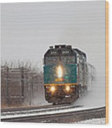 Passenger Train Blowing Snow On Curve Wood Print by Steve Boyko