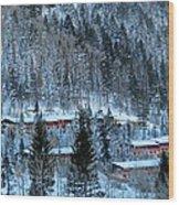 Snow Cabins Wood Print