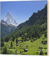Snow-capped Matterhorn Wood Print
