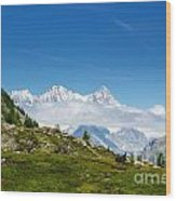 Snow-capped Mountain And Cloud Wood Print