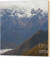 Snow Clouds In The Andes Wood Print