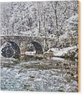 Snow Coming Down On The Wissahickon Creek Wood Print
