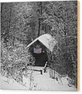 Snow Covered Covered Bridge  Wood Print