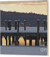Snow Covered Docks Wood Print