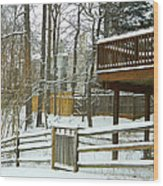 Snow Covered Fences Wood Print