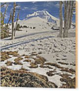 Snow Covered Mount Hood In Oregon Wood Print