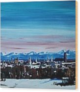 Snow Covered Munich Winter Panorama With Alps Wood Print