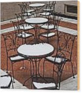 Snow Covered Patio Chairs And Tables Wood Print