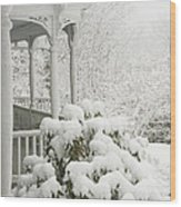 Snow Covered Porch Wood Print