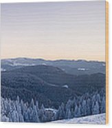 Snow Covered Trees On A Hill, Belchen Wood Print