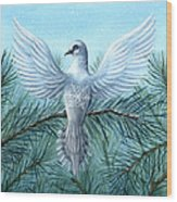 Snow Crystal Dove Wood Print