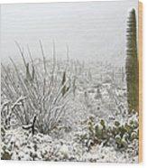 Snow Day In The Desert  Wood Print by Saija  Lehtonen