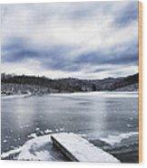 Snow Dock Frozen Lake Wood Print
