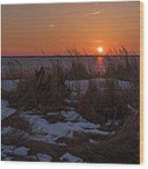 Snow Dune Sunset Seaside Park Nj Wood Print