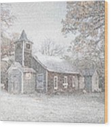 Snow Fall Old Church Wood Print by Cindy Rubin