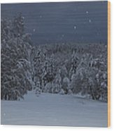 Snow Falling In A Forest Wood Print