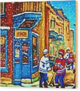 Snow Falling On The Game Wood Print