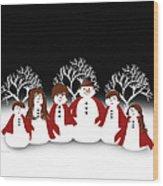 Snow Family 2 Square Wood Print