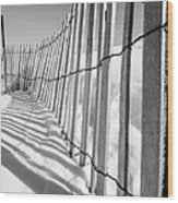 Snow Fence B/w Wood Print