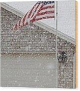 Snow Flag Wood Print