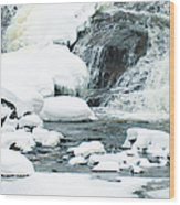 Snow Formations At Bottom Of Bond Falls Wood Print