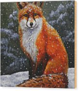 Snow Fox Wood Print