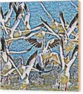 Snow Geese Panic Wood Print