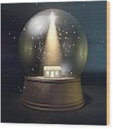 Snow Globe Nativity Scene Night Wood Print