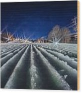 Snow Groomed Trail At A Ski Resort At Night Wood Print