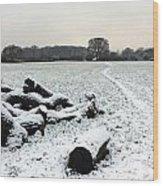 Snow In Surrey England Wood Print
