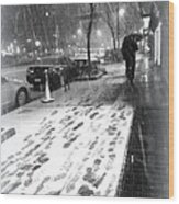 Snow In The City Wood Print