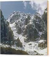 Snow In The Dolomites Wood Print
