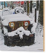 Snow Jeep Wood Print