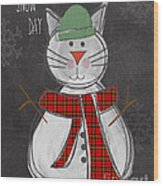 Snow Kitten Wood Print