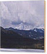 Snow Lake And Mountains Wood Print