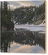 Snow Lake Last Fog Wood Print