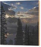 Snow Lake Sunset Wood Print