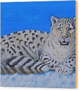 Snow Leopard Wood Print by David Hawkes