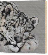 Snow Leopard Digital Art Wood Print