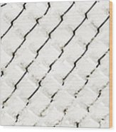 Snow Link Fence Wood Print by Andee Design