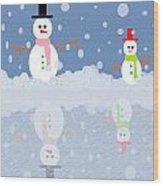Snow Man Wood Print