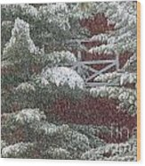 Snow On A Pine Tree With A Red Barn. Wood Print