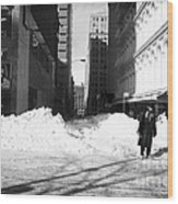 Snow On Broadway 1990s Wood Print by John Rizzuto