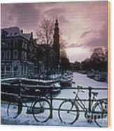 Snow On Canals. Amsterdam, Holland Wood Print