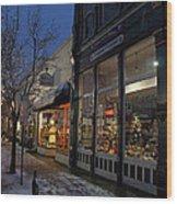 Snow On G Street - Old Town Grants Pass Wood Print