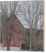 Snow On Red Barn Roof Wood Print