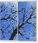 Snow On The Blue Cherry Blossom Tree Wood Print