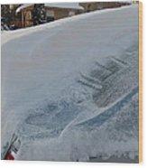 Snow On The Car Wood Print